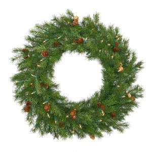 6 Pre Lit Redwood Pine With Cones Christmas Wreath
