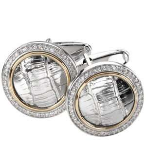 Genuine St. Anton Cufflinks. Sterling Silver & 14K Yellow Gold Diamond