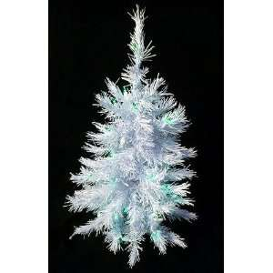 Lit White Artificial Christmas Tree   Green Lights
