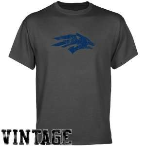 NCAA Nevada Wolf Pack Charcoal Distressed Logo Vintage T