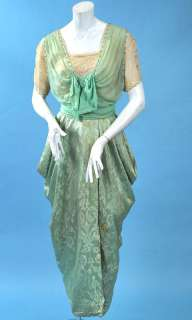 SEA FOAM PASTEL GREEN CHIFFON & SILK HOBBLE GOWN W/RHINESTONES