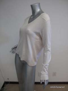 Manrico White Cashmere Long Sleeve V Neck Sweater S