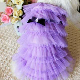 COLOR Luxury Cat Dog clothes Party Wedding Princess Layer skirt dress