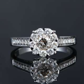 3CT DIAMETER Solid 14K White Gold DIAMOND Solitaire Halo Engagement