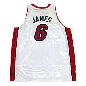LeBron James Unsigned Authentic Miami Heat White Jersey   NBA Jerseys