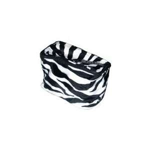 Animal Print Plush Faux Fur Cosmetic Case in White & Black   Size 8x5