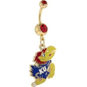 Kansas Jayhawks Double Ruby Red Gem Gold Belly Ring