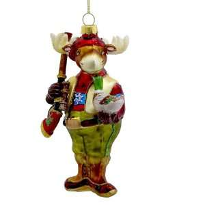 Kurt Adler 5.75 Glass Hunting Moose Ornament