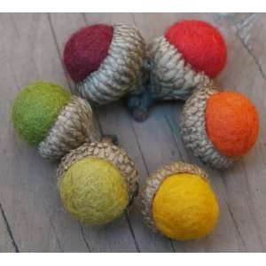 Needle Felted Acorns  Handmade with real wool  FALL COLORS mix  in