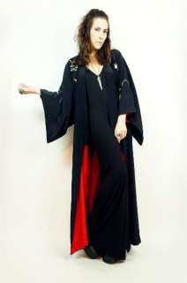 Vtg Black SATIN Embroidered Floral GOTH Neon MAXI Dress Gypsy KIMONO