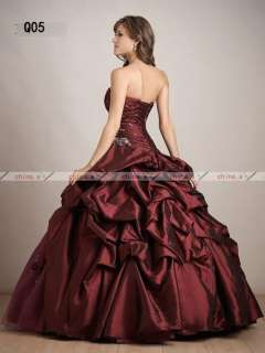 Red Strapless Applique & Beads Ball Gown Quinceanera Dress/Wedding