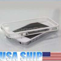 White Clear Bumper Frame TPU Silicone Case for iPhone 4S 4G W/Side