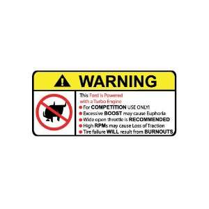 Ford Turbo No Bull, Warning decal, sticker