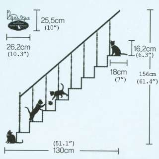 stairway cat wall removable decal sticker