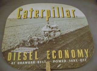 Vintage Caterpillar Track Type Traction Diesel Tractor Advertising Fan
