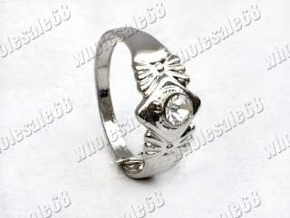 FREE Wholesale lot 100ps rhinestone silver tone ring