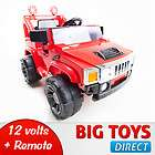 RED 12V RC BATTERY POWER KIDS RIDE ON HUMMER JEEP W/ BIG WHEELS & R/C