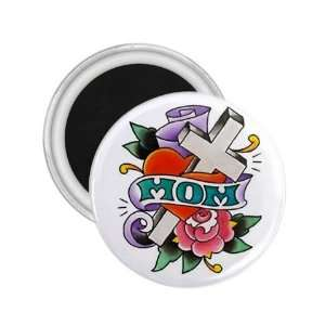 Tattoo Cross MOM Art Fridge Souvenir Magnet 2.25