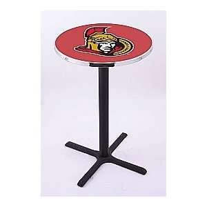 Ottawa Senators HBS Pub Table with Black Wrinkle base L211