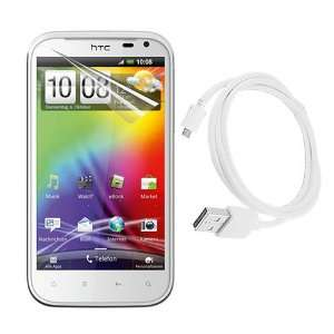White Micro USB Data Cable Straight for HTC Sensation XL Electronics