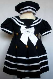 Girl Toddler Easter Formal Nautical Sailor Dress XL 2T 3T 4T Navy Blue