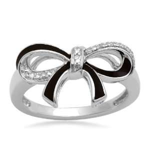 Sterling Silver Diamond Black Enamel Bow Ring (1/20 cttw