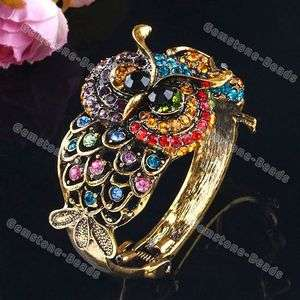 Multi Color Rhinestone Double Owl Fashion Brass Bracelet Bangle