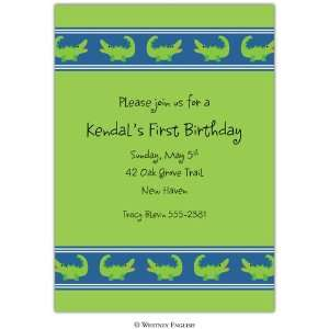Childrens Birthday Party Invitations   Green Gator Invitation