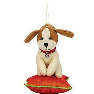 Doggy on a Pillow Plush Christmas Ornament