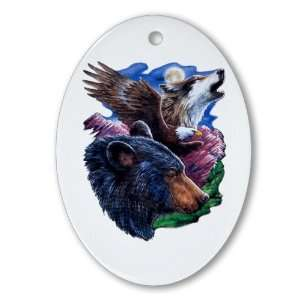Ornament (Oval) Bear Bald Eagle and Wolf