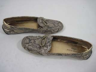 ANNE KLEIN Gold Metallic Leather Snakeskin Loafers 6 M