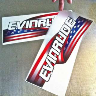 EVINRUDE Outboard decals ETEC USA American flag Stars & Stripes motor