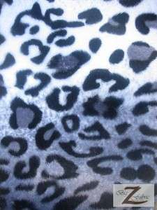 VELBOA FABRIC GREY LEOPARD PRINT FAUX FUR ONLY $6.49/YARD SOLD BTY
