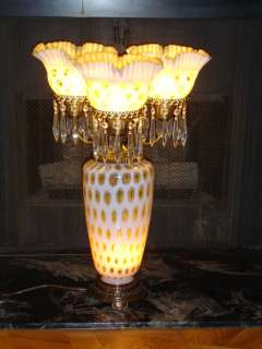 Fenton Honeysuckle Opalescent Coin Dot Candelabra Lamp