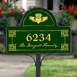 Irish Claddagh Personalized Address Plaque   Yard Stake  Outdoor