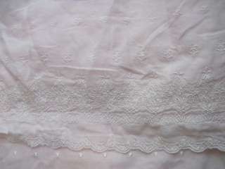 ASHWELL SIMPLY SHABBY CHIC Pink Gauzy Embroidered Shower Curtain