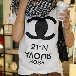 Womens Casual Letters Print Short Sleeve White Shirt Tops Blouse Tank