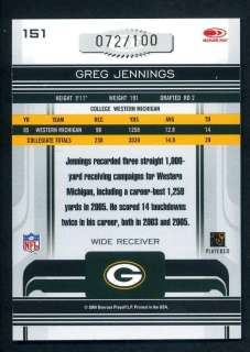 2006 Donruss Gridiron Gear Greg Jennings Rc Auto /100