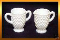 Small CREAM & SUGAR Bowls White Milk Glass Hobnail *LN*