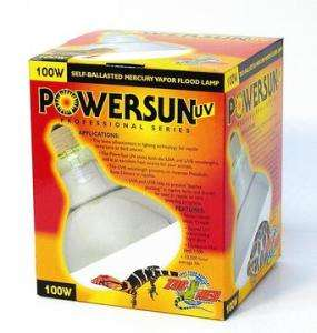 100W POWERSUN UV MERCURY VAPOR SPOT LAMP Zoo Med Laboratories Heat
