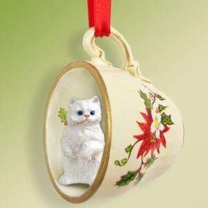 Persian White Cat Ornament Christmas Ornament Cup of Tea