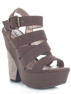 NEW QUPID Women Casual Open Toe Strappy Chunky High Heel Wedge Sandal