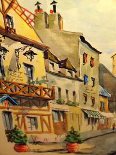 LACROIX Montmarte French Cityscape Windmill Street Scene Watercolor