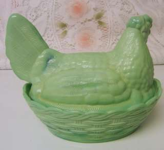VINTAGE Green Milk Glass Hen On Laced Nest Covered Dish