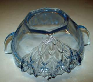 ART Deco BLUE Glass Cover BOWL Dish Open SUGAR Vanity
