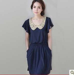 Korea Women round neck mini Dresses Blue Z673