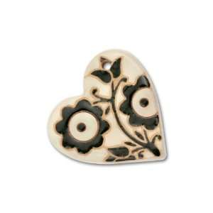 Stoneware Large White with Black Flowers Heart Pendant