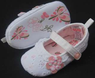 Mary Jane white flowers toddler baby girl shoes size 2 3 4