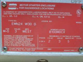 CROUSE HINDS EXPLOSION PROOF MOTOR STARTER B100M0C