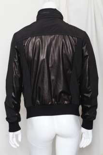 BOTTEGA VENETA Mens Black Leather & Nylon Bomber Jacket Coat Hoodie 50